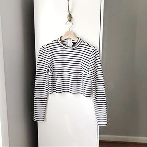 Forever21 navy and white stripe mock neck crop top